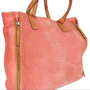 pink suede leather trim Italy made lg tote handbag